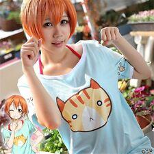 1pc Hoshizora Rin Cats Pattern Short Sleeves T shirt Anime Love Live Cosplay
