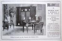PUBLICITÉ DE PRESSE 1909 MAJORELLE MEUBLES D'ART - CABINET DE TRAVAIL ACAJOU