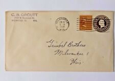 USA COVERS ENVELOPES GEORGE & MARTHA WASHINGTON 1-1/2 CENT STAMPS 1952 WISC (D2)