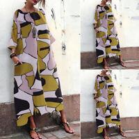UK 8-24 Womens Floral Batwing Sleeve Dress Casual Loose Long Maxi Dresses Plus