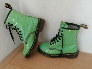 Dr Marten Made In England Green Patent Leather 1460  Boots Size UK 3