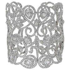 DIAMOND ROUND BRILLIANT PEAR SHAPE BIG CUFF DIAMOND SET PRONG BEZEL SET BANGLE