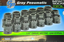 1/2in Dr. 13 Pc.Metric Universal Impact Socket Set 12 to 24 MM Grey Pneu 1313UM