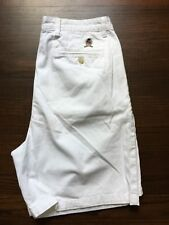 TOMMY HILFIGER Men's SZ 36 Pleated Front Casual Shorts, White, 100% Cotton