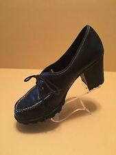 Women's Black Leather Airwalk Lace Up Shoes Chunky Heels Size 10