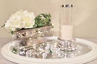 Keramik Glas Windlicht Kerzenhalter Kerzenständer Silber Shabby Teelichthalter