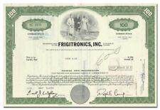 Frigitronics, Inc. Stock Certificate (Shelton, Connecticut)