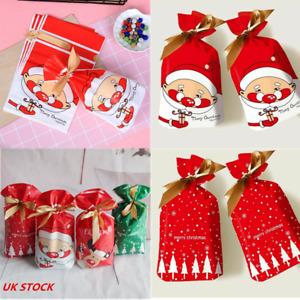 50X Christmas Drawstring Gift Bags Reusable Xmas Sacks Storage Wrap Present UK