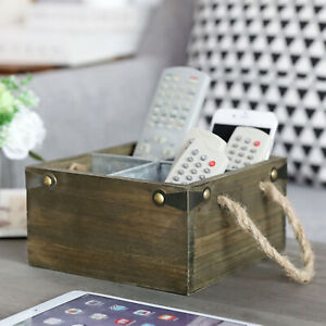 Reclaimed Style Gray-Brown Wood and Galvanized Metal 4-Slot Remote Control Caddy