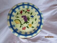 """Capriware 10 3/8"""" Hand Painted Fruit Decorative Plate Blue Grapes Blueberries"""