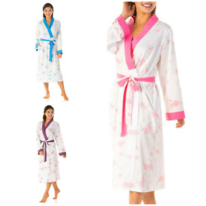 Lady Olga Long Sleeved Floral Cotton Jersey Wrap Kimino Dressing Gown