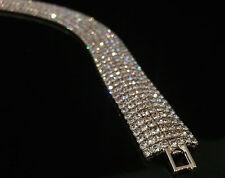 14k White Gold GP Bracelet w/ Swarovski Elements Crystal Full Pave Bling Bangle