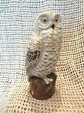 Vintage SNOWY SNOW OWL FIGURINE PORCELAIN STATUE BIRD SCULPTURE by LJ JAPAN