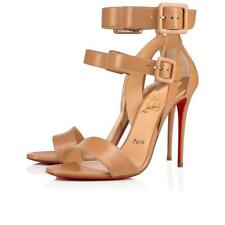 Christian Louboutin Multipot 100 Nude Leather Ankle Strap Sandal Heel Pump 40