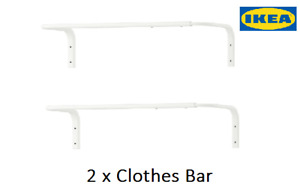 2 x Ikea White Mulig Clothes Bar,Wall Mounted, Clothes Rail ,Towel Rail ,Hanging