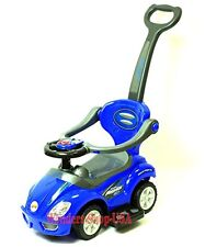 New 2018 Deluxe Mega Push Cart 3 in 1 Toddler Wagon Kid Ride on Blue Buggy