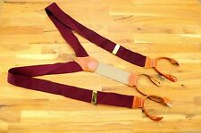 New Dooney & Bourke Burgundy Silk Braces Suspenders Leather Brass England