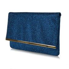 Womens Glitter Clutch Bag Envelope Bridal Prom Club Evening Purse Handbag UK