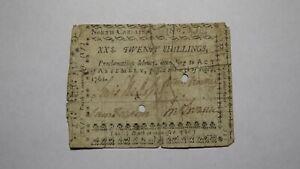 1761 Twenty Shillings North Carolina NC Colonial Currency Note Bill! RARE 20s