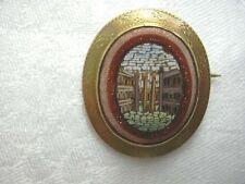 ca 1850 MICRO MOSAIC GOLD BROOCH AQUAEDUCT ROME