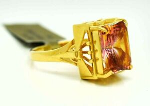 AZOTIC TOPAZ 6.10 Cts RING 18K YELLOW GOLD ** FREE Appraisal * NEW WITH TAG