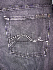 Ladies 7 FOR ALL MANKIND Dark Grey Port Lions Boot Cut Jeans Moonray Squiggle 30