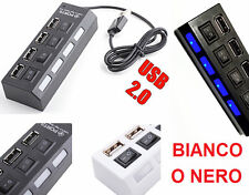 HUB con 4 prese USB 2.0 + prolunga PC + 4 interruttori on/off + luce.Nero,Bianco