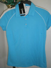 Nwt Womens Adidas Golf Cosmic Blue/White Vertical Stripe Polo Sz Medium