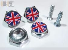 BLUE RED WHITE MINI COOPER UK UNION JACK FLAG LICENSE PLATE FRAME BOLT SCREW X 4