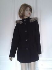 BHS 3/4 LENGTH BLACK FUR TRIMMED HOODED JACKET SIZE 10