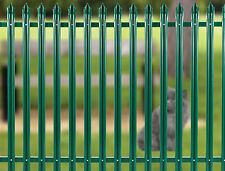 27.5mtrs of 1.8m high PPC GREEN Palisade Fencing c/w.Posts/Rails/pales & fixings