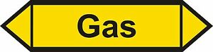 Pfeil - Aufkleber - Gas - Luftrichtungspfeil - Größe: 200 x 50 / 50 Stück