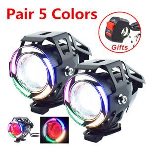Pair 125W U7 Multi Color LED Motorcycle Headlight Spot Fog Lamp Angel Eyes