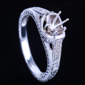 14K White Gold Halo Pave Diamond Semi Mount Setting Engagement Ring 6.5mm Round