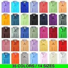 New Berlioni Italy Men Premium Classic French Convertible Cuff Solid Dress Shirt