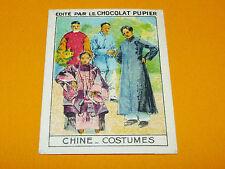 CHROMO CHINE COSTUMES CIVILS CHINOIS CHOCOLAT PUPIER ASIE 1936 中国