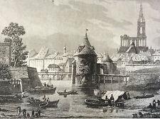 Strasbourg gravure sur acier XIXe  Bas- Rhin. D'après F.A. Pernot et Skelton