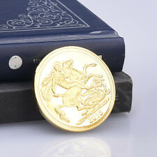 Hot Queen Elizabeth II Great Britain Gold Color Coins Sovereign Collect Useful