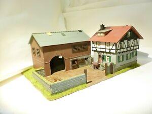 HO 00 OO gauge farmyard diorama with horses stables barn house farmhouse Faller