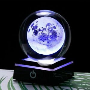 Laser Engraved Glass Globe 3D Moon Crystal Ball LED Base Craft Sphere Ornament