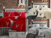 New Stag Head Teddy Bear Fleece Duvet Cover Set Warm Fleece Bedding