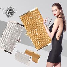 Silver Gold Crystal Diamante Effect Evening Clutch Wedding Party Prom Bag Box
