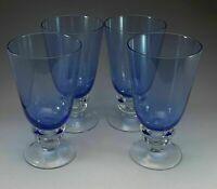 Blue Goblets Big Thick Bar Glasses Wine Beer Stemware Vintage Lot 4