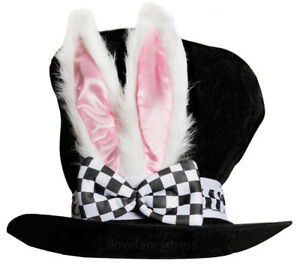 DELUXE TOP HAT WITH BUNNY EARS BOW WHITE RABBIT FANCY DRESS BOOK DAY WONDERLAND