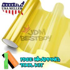 "*12""x48"" Glossy Golden Yellow Tint Headlights Fog Lights Sidemarker Vinyl Film"