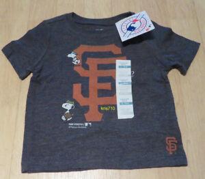 Old Navy San Francisco Giants Snoopy T-shirt Toddler 12-18M Gray Baseball NEW