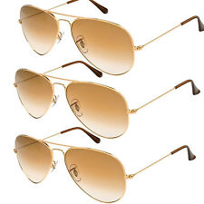 3 PAIRS Gold Brown Aviator Sunglasses Wholesale Lot Mens Womens Retro Vintage