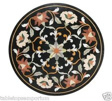 "24""x24"" Black Marble Coffee Table Top Marquetry Inlay Pietra Dura Home Decor"