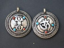 to do Tibetan Filigree 8 Turquoise Coral Carved Sanskrit Om Double Dorje Pendant