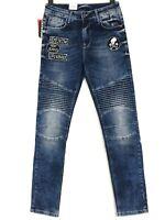 CIPO & BAXX Herren Jeans Hose Stretch Slim Patchwork Biker W31 L32 Blau Neu